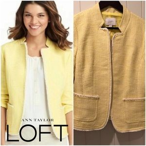 LOFT yellow tweed jacket size Small